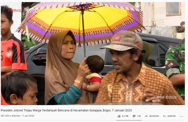 Kunjungi Lokasi Banjir Bogor, Hujan Lokal Hanya Mengguyur Tubuh Jokowi? Ini Faktanya