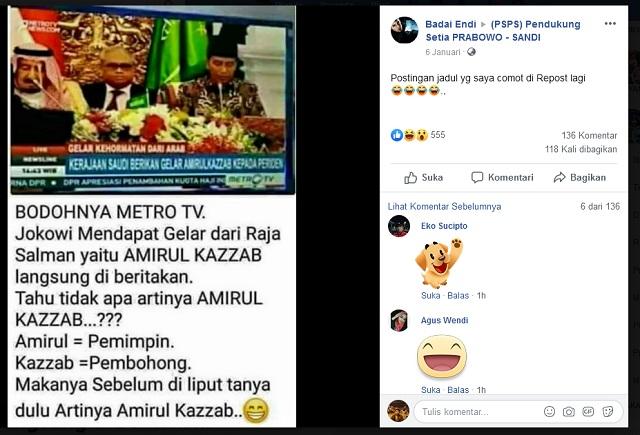 Arab Saudi Beri Gelar <i>Amirul</i> <i>Kazzab</i> untuk Jokowi, yang Berarti Pemimpin Pembohong? Ini Faktanya