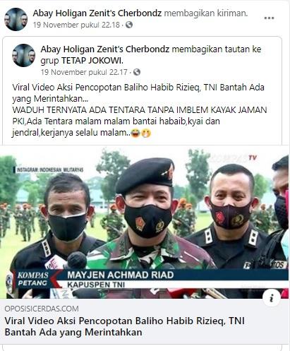 [Cek Fakta] Mabes TNI Bantah Perintahkan Pangdam Jaya Turunkan Baliho Pimpinan Ormas? Ini Faktanya