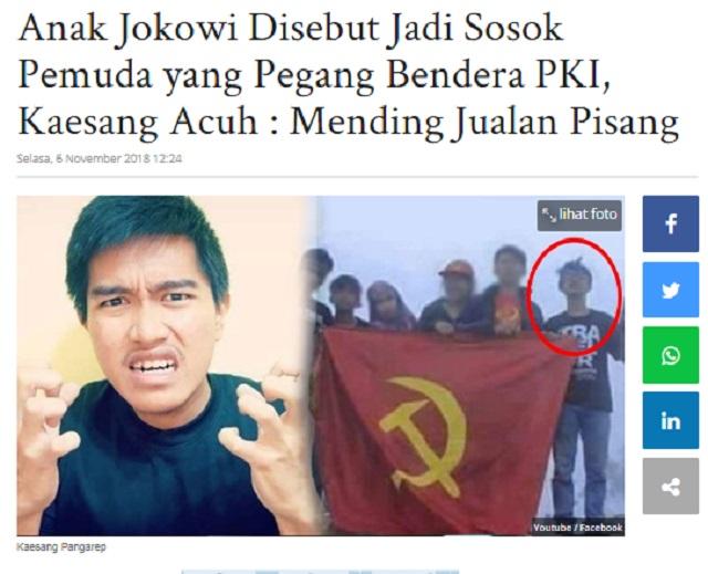 [Cek Fakta] Foto Penampakan Kaesang Anak Jokowi Bangga Kibarkan Bendera PKI? Ini Faktanya