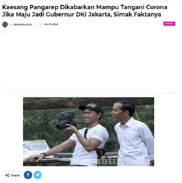 [Cek Fakta] Kaesang Mampu Tangani Virus Korona jika Menjadi Gubernur DKI Jakarta? Ini Faktanya