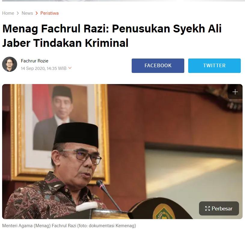 [Cek Fakta] Menag Sebut Penusukan Syek Ali Jaber Kriminal Biasa? Ini Faktanya