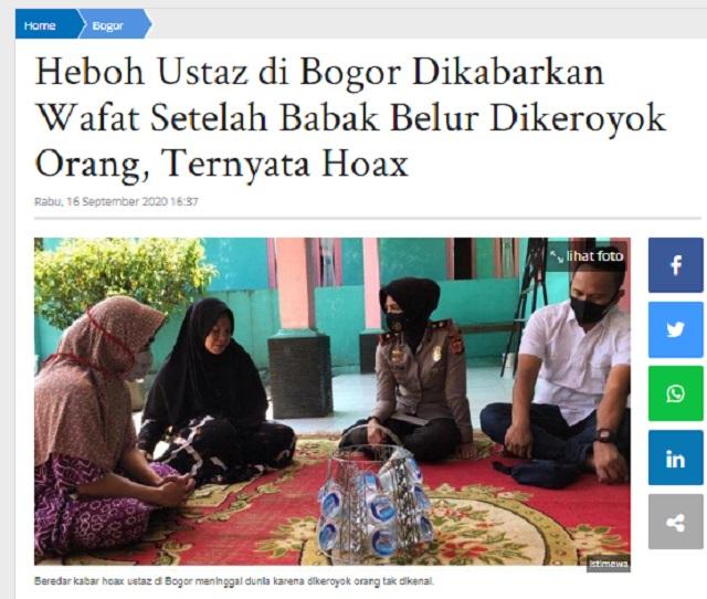 [Cek Fakta] Seorang Kiai di Bogor Babak Belur hingga Meninggal Ulah PKI? Ini Faktanya