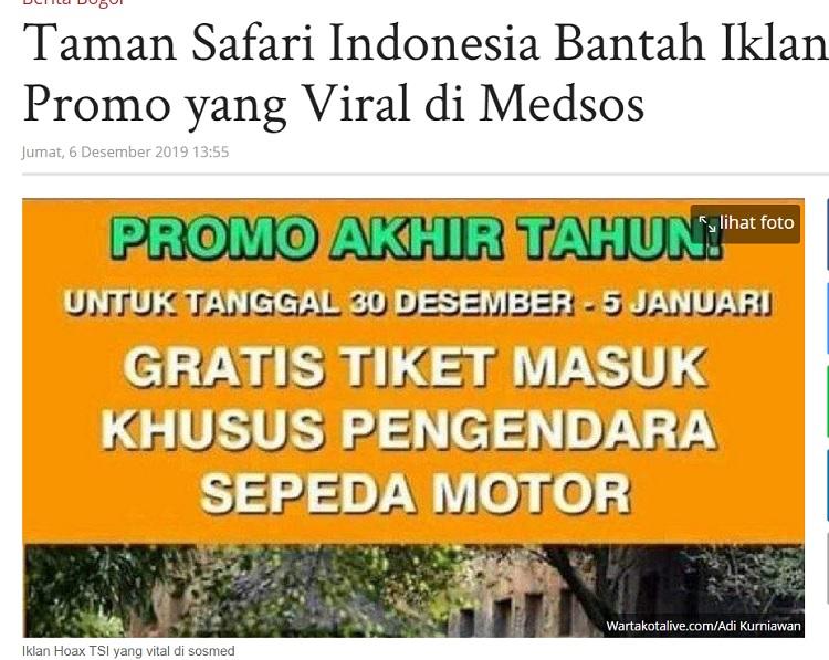 [Cek Fakta] Promo Akhir Tahun Tiket Gratis Taman Safari Bogor untuk Roda Dua? Ini Faktanya
