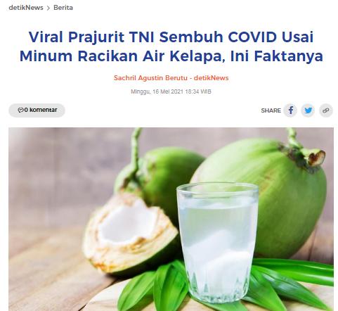 [Cek Fakta] Sehari Minum Air Kelapa Muda Campur Garam, Jeruk Nipis dan Madu, Prajurit TNI AD Ini Negatif Covid-19? Ini Faktanya