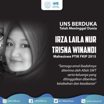 UNS Mewisuda Almarhumah Irza Korban Kecelakaan Lalu Lintas