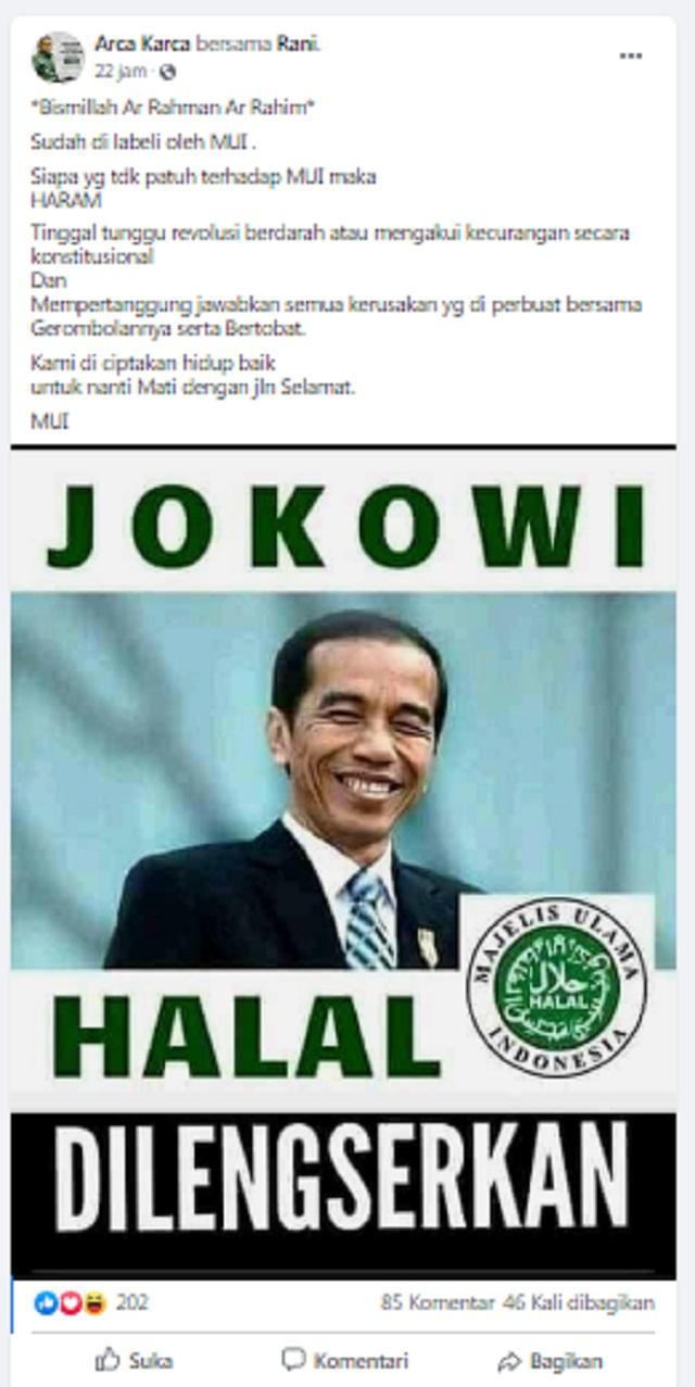 [Cek Fakta] MUI Keluarkan Label Jokowi Halal Dilengserkan? Ini Faktanya