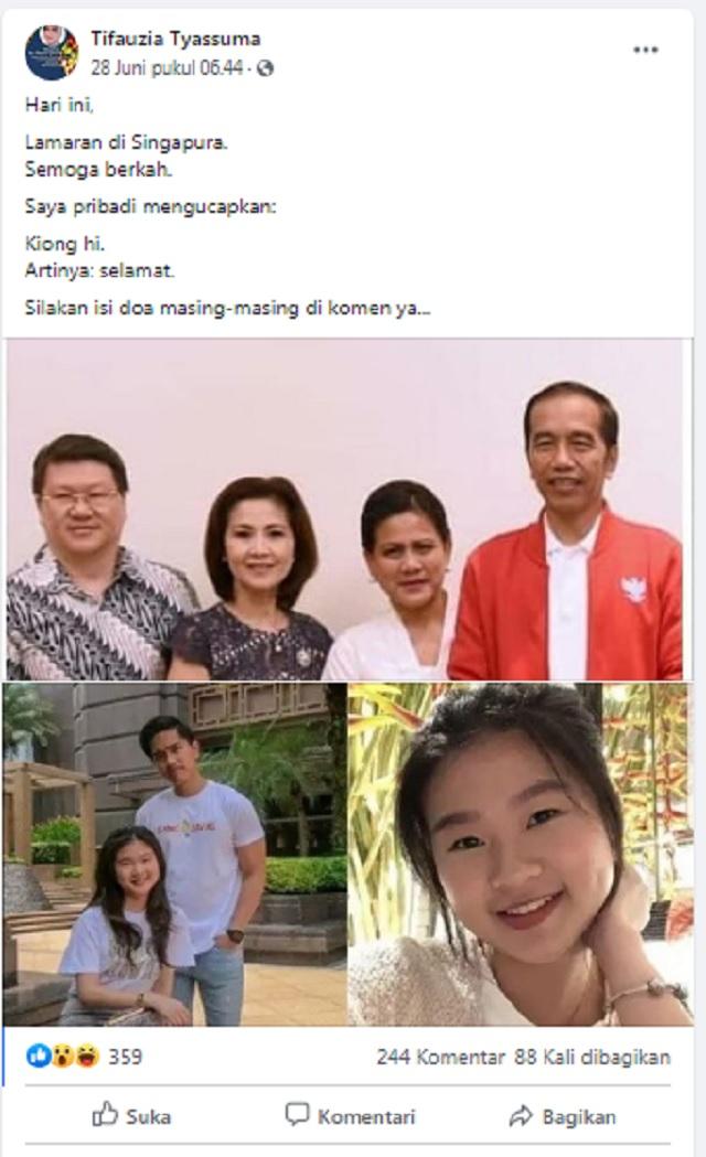 [Cek Fakta] Putra Bungsu Presiden Jokowi Kaesang Pangarep Gelar Lamaran di Singapura? Ini Faktanya