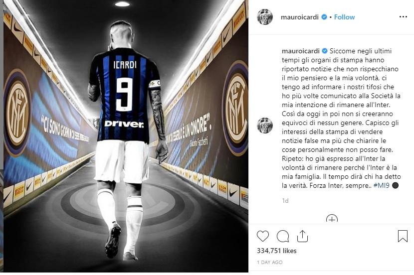 Lewat Instagram, Icardi Pastikan Bertahan di Inter