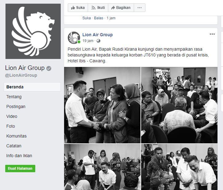 Berduka, Tampilan Situs Lion Air Tak Lagi Merah