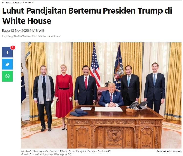 [Cek Fakta] Berkunjung ke AS, Luhut Menasehati Trump Agar <i>Move On</i>? Ini Faktanya