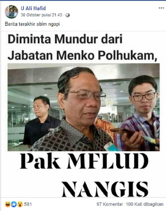 Mahfud MD Menangis Diminta Mundur dari Jabatan Menko Polhukam? Ini Faktanya