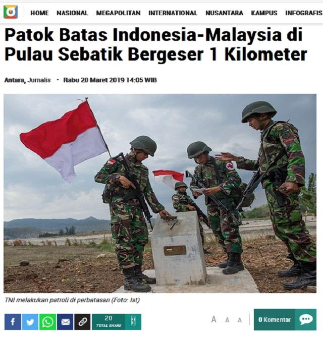 [Cek Fakta] Diam-Diam Malaysia Geser Patok Perbatasan saat Indonesia-Tiongkok Memanas soal Natuna? Ini Faktanya