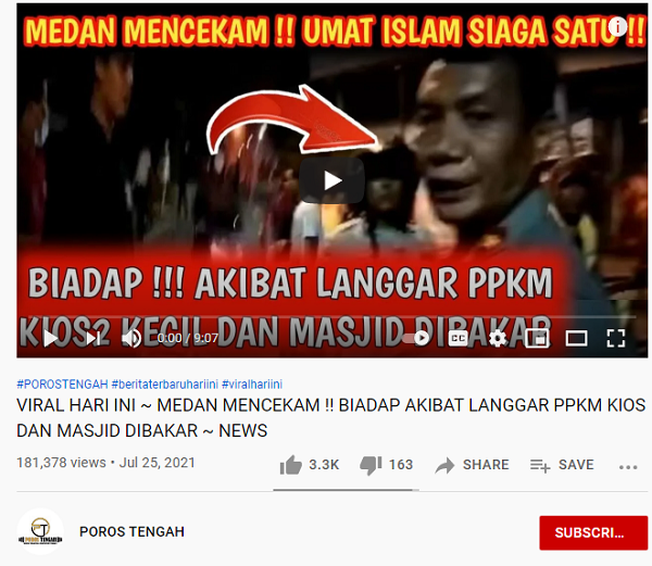 [Cek Fakta] Kanal YouTube Ini Unggah Video Medan Mencekam Masjid Dibakar karena Langgar PPKM? Simak Faktanya