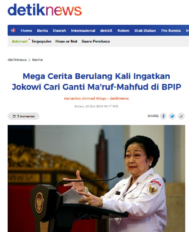 [Cek Fakta] Megawati Minta Jokowi Mengganti Ma'ruf Amin? Ini Faktanya