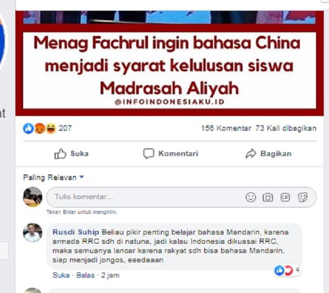 Menag Fachrul Ingin Bahasa China Menjadi Syarat Kelulusan Siswa Madrasah Aliyah? Ini Faktanya