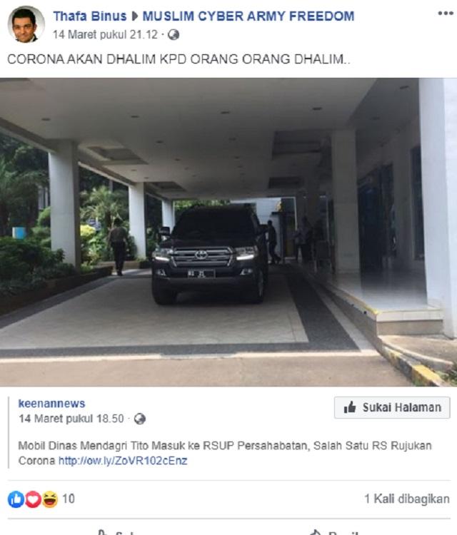 [Cek Fakta] Mendagri Tito Karnavian dan Istri Terinfeksi Korona? Hoaks