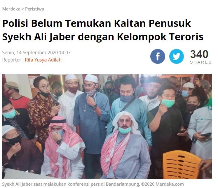 [Cek Fakta] Pelaku Penusukan Syekh Ali Jaber Simpatisan HTI? Ini Faktanya