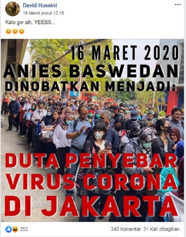 [Cek Fakta] Anies Baswedan Dinobatkan jadi Duta Penyebar Virus Korona di Jakarta? Ini Faktanya