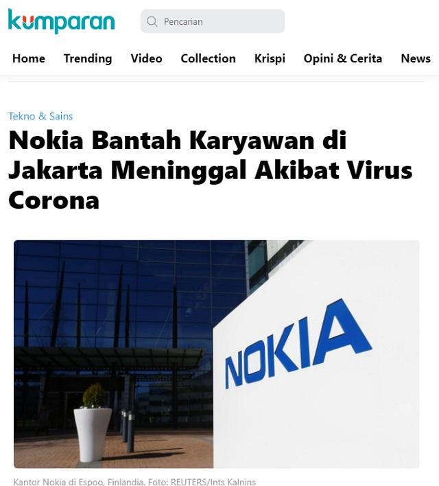 [Cek Fakta] Karyawan Meninggal karena Korona, Nokia Sterilisasi Kantornya di Menara Mulia? Ini Faktanya
