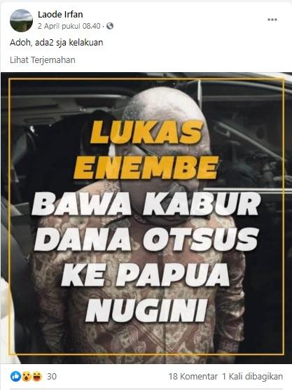 [Cek Fakta] Lukas Enembe Bawa Kabur Dana Otsus ke Papua Nugini? Ini Faktanya