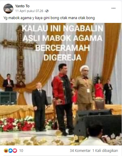[Cek Fakta] Ali Mochtar Ngabalin Berceramah di Gereja? Ini Faktanya