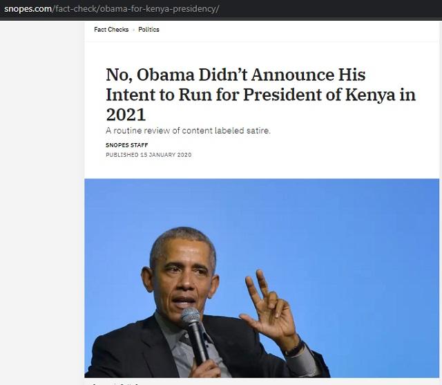 [Cek Fakta] Mantan Presiden Amerika Serikat Obama Ingin Maju di Pilpres Kenya 2021? Ini Faktanya