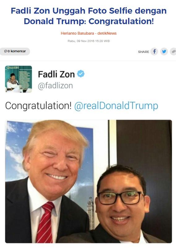 [Cek Fakta] Foto dengan Fadli Zon Penyebab Donald Trump Kalah di Pilpres AS? Ini Faktanya
