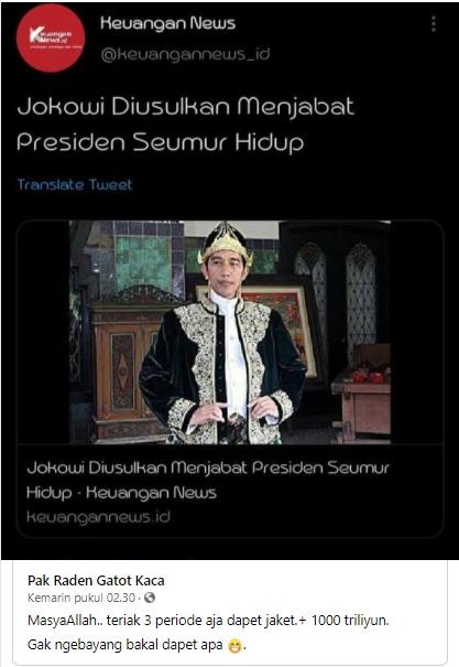 [Cek Fakta] Jokowi Diisukan Jadi Presiden Seumur Hidup? Ini Faktanya