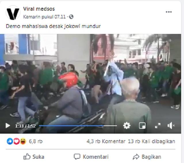 [Cek Fakta] Viral Video Mahasiswa Unjuk Rasa Tuntut Jokowi Mundur di Tengah Pandemi? Ini Faktanya