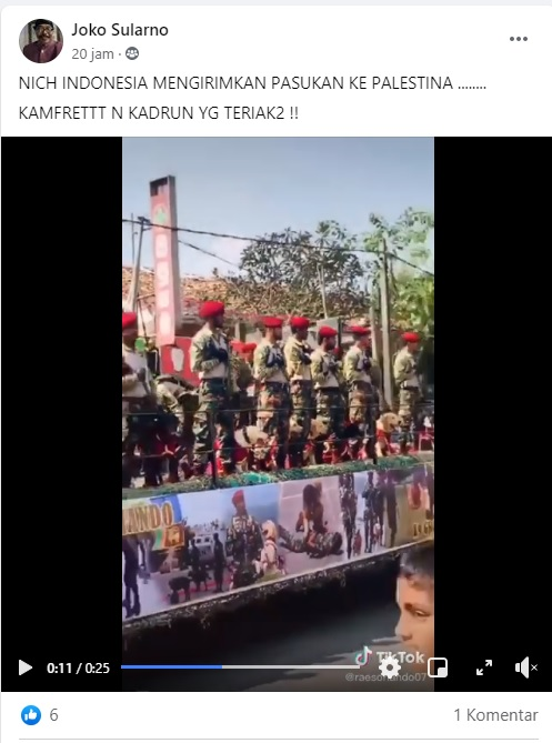 [Cek Fakta] Video TNI Kirim Pasukan ke Palestina? Ini Faktanya