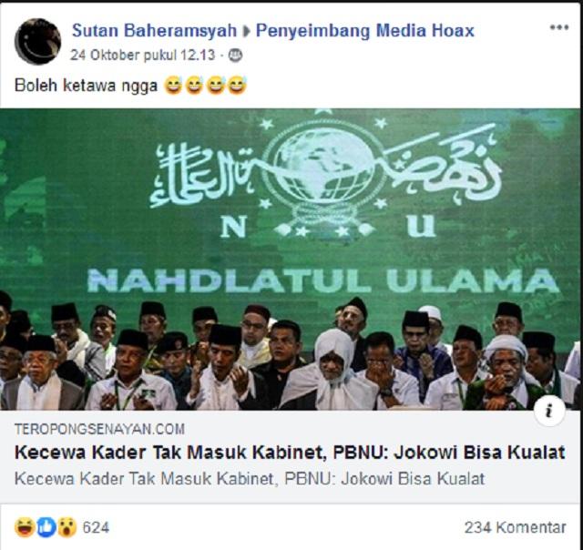 Kecewa Kader Tak Masuk Kabinet, PBNU Sumpahi Jokowi Kualat? Ini Faktanya