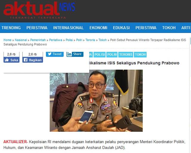 Penusuk Wiranto Pendukung Prabowo? Ini Faktanya