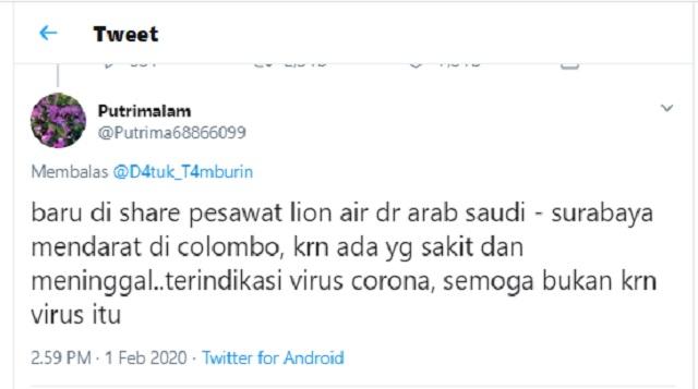 [Cek Fakta] Benarkah Dua Penumpang Lion Air Meninggal karena Virus Corona? Ini Faktanya