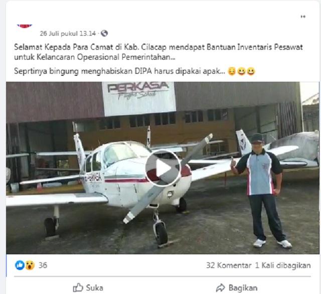 [Cek Fakta] Para Camat di Cilacap Masing-masing Dapat Satu Unit Pesawat Terbang? Ini Faktanya