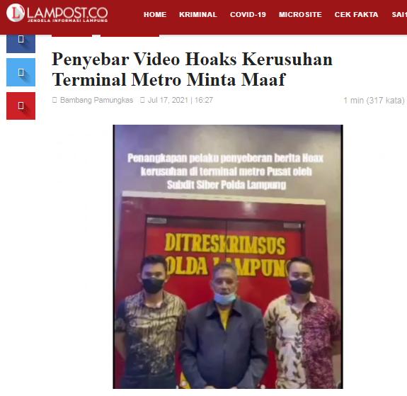 [Cek Fakta] Video Sejumlah Pedagang Marah dan Melawan Satgas PPKM di Lampung? Ini Faktanya