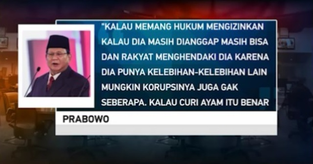 Komitmen Prabowo tentang Pemberantasan Korupsi Diragukan
