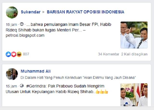 Prabowo Sudah Mengirim Utusan untuk Kepulangan Rizieq Shihab? Ini Faktanya