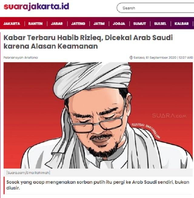 [Cek Fakta] Habib Rizieq Bersumpah Tak Pulang ke Indonesia Kecuali Dijemput Jokowi? Ini Faktanya
