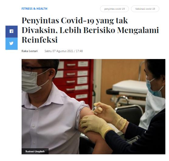 [Cek Fakta] Orang yang Divaksin 13 Kali Lebih Besar Kemungkinan Terinfeksi Covid-19? Ini Faktanya