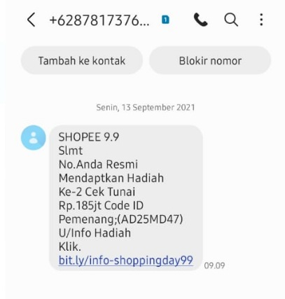 [Cek Fakta] Hadiah Cek Tunai Rp185 Juta dari Shopee? Ini Faktanya