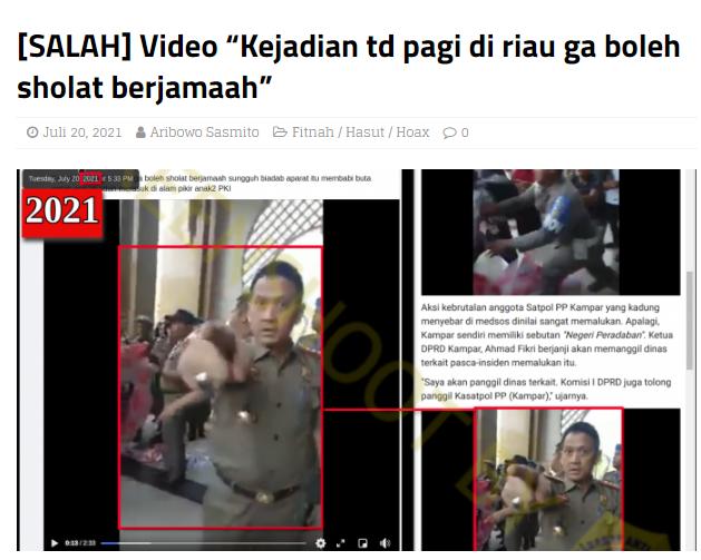 [Cek Fakta] Video Satpol PP Riau Bubarkan Salat Iduladha? Ini Faktanya