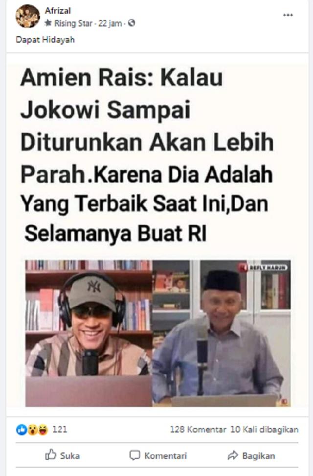 [Cek Fakta] Amien Rais Sebut Jokowi Sosok Terbaik Selamanya Buat Indonesia? Ini Faktanya