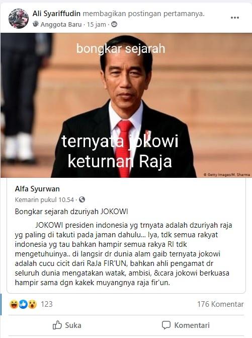[Cek Fakta] Presiden Joko Widodo Keturunan Raja? Cek Faktanya