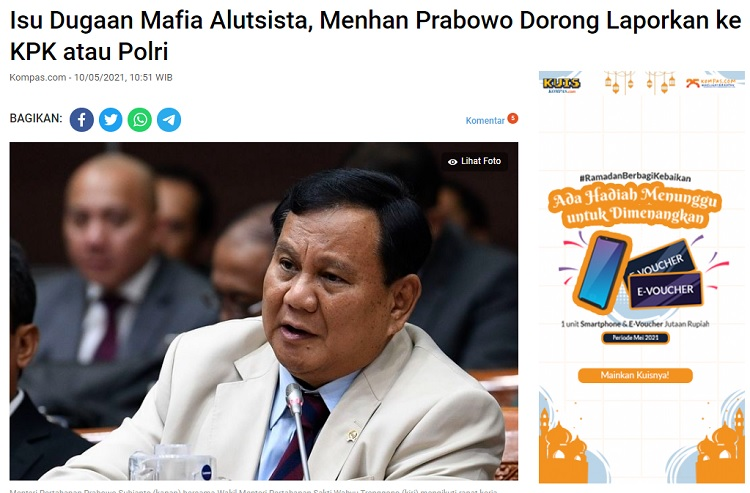 [Cek Fakta] KPK Geledah Kantor Kemenhan Ungkap Mafia Alutsista? Ini Faktanya