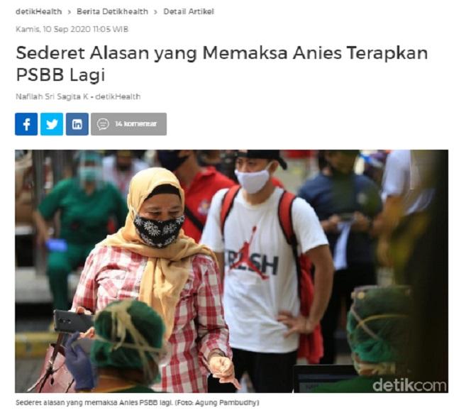 [Cek Fakta] Anies Dapat Instruksi dari KAMI Lakukan PSBB agar Indonesia Masuk Jurang Resesi? Ini Faktanya