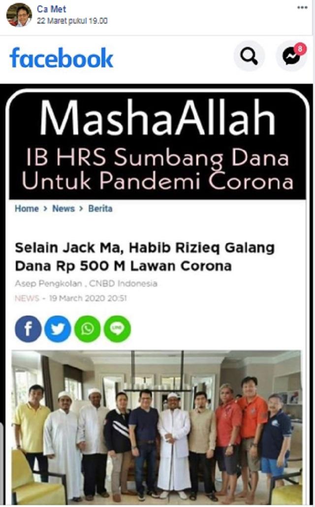 [Fakta atau Hoaks] Habib Rizieq Shihab Galang Dana Rp500 Miliar Lawan Korona?