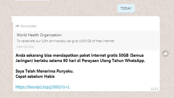 [Cek Fakta] Link WhatsApp Bagikan Kuota Internet 50 GB? Ini Faktanya