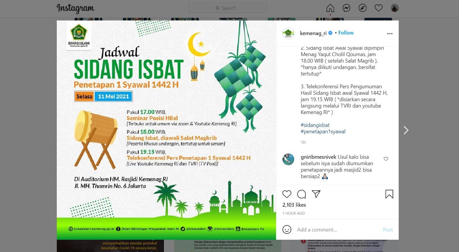 Kementerian Agama Bakal Gelar Sidang Sibat Idul Fitri 2021, Bisa Ditonton Online