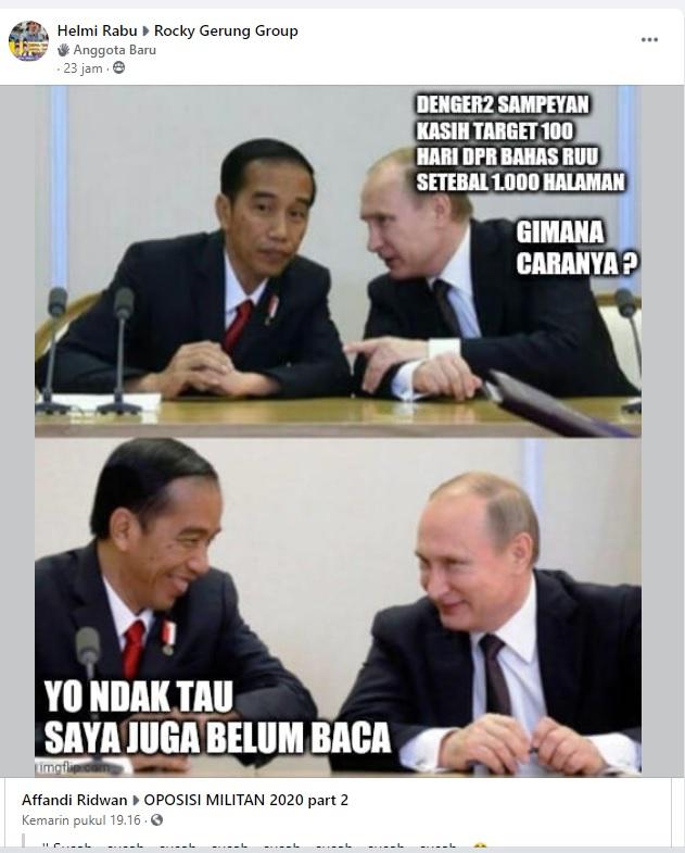 [Cek Fakta] Foto Vladimir Putin dan Jokowi Bahas Omnibus Law? Ini Faktanya